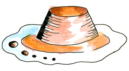 whie: Vector watercolor creme brulee on a whie background Illustration