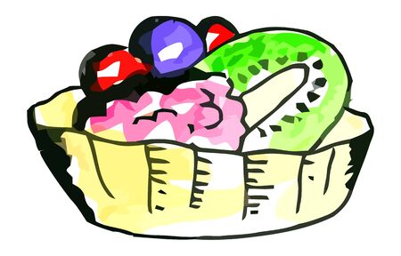 whie: Vector watercolor cake with fruits on a whie background