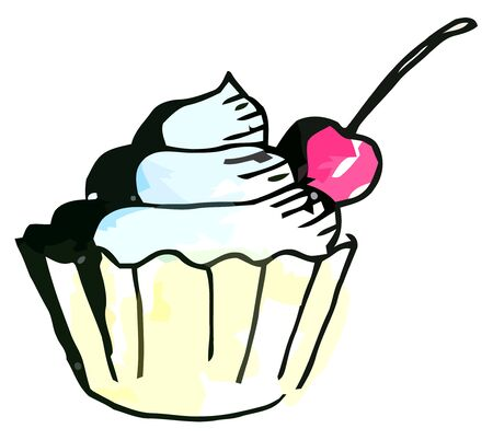 whie: Vector watercolor muffin on a whie background Illustration