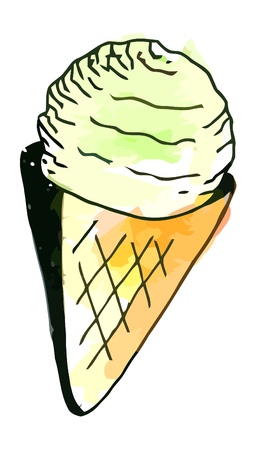 whie: Vector watercolor icecream on a whie background