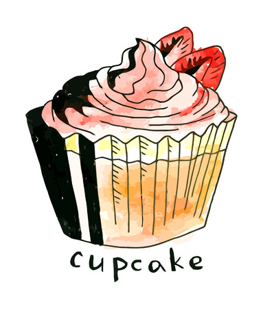 whie: Vector watercolor cupcake on a whie background Illustration
