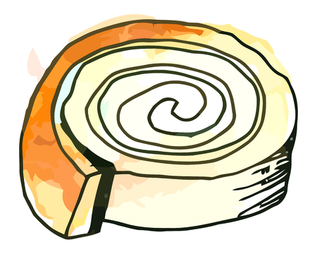 whie: Vector watercolor sweet roll on a whie background