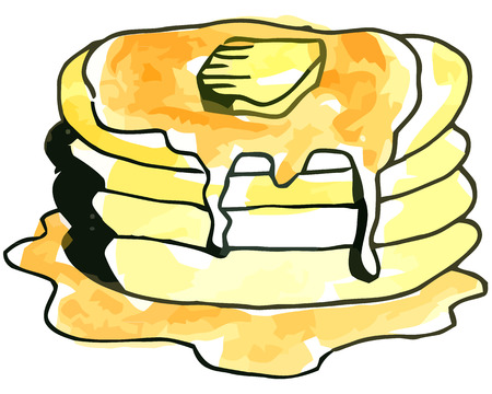 whie: Vector watercolor pancakes with syrup on a whie background