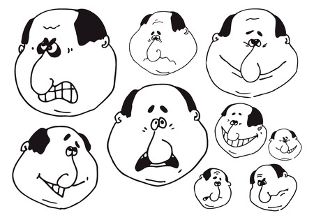 flirty: Vector black and white bald man emotions collection Illustration