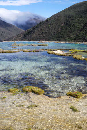 China, Sichuan Kangding, the pool elevation of 4,000 meters of natural calcification  Stock Photo - 12856013