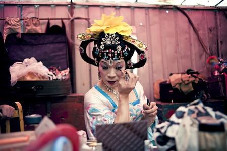 CHENGDU, CHINA-MARCH 12, 2011: Unidentified actor prepares backstage for the Sichuan opera on March 12, 2011, in Chengdu, China.  Sichuan opera is a Chinese folk tradition that originated in China around 1700.