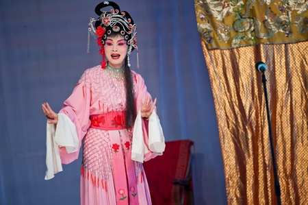 CHENGDU, CHINA-MARCH 12: unknown actors in the performing for the Sichuan opera on March 12, 2011,  Chengdu, it is a Chinese folk tradition that originated in China around 1700.