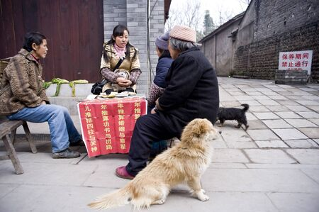SICHUAN,CHINA-FEBRUARY 17:Unknown woman in fortune telling, because the city transformation, farmers lose arable land, do business, February 17, 2011,sichuan,china Stock Photo - 12768973