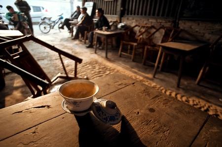 Coupe de la maison de th� vieux, Sichuan, Chine �ditoriale
