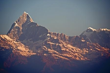 fishtail: Nepal Pokhara, Fishtail peak Stock Photo