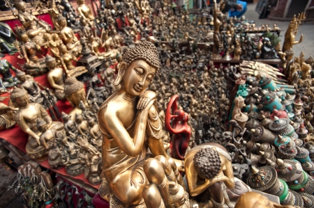 Nepal, the Buddha statues in the temple