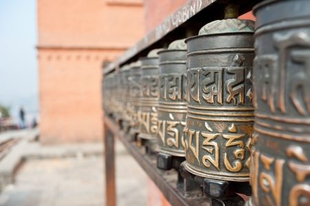 prayer wheels, Nepal photo