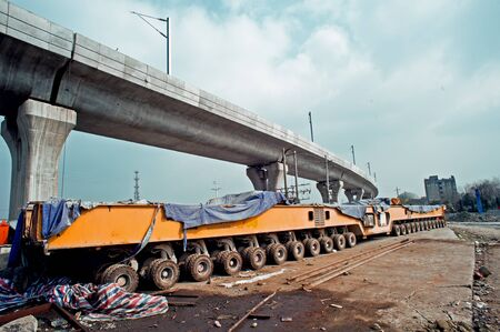 viaducts: Elevated bridge construction vehicles,