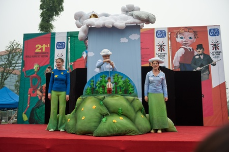 international puppet festival: Chengdu, China, May 27, 2012: 21th International Puppet Festival opened in Chengdu, exhibiting more than 100 pieces of Puppet Theatre in 45 countries around the world, first held in China, Chengdu, May 2012. Stock Photo