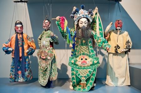 Sculptures de l'homme dans le th��tre de marionnettes, fabriqu� en Chine Banque d'images