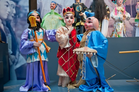 international puppet festival: Human sculptures in the puppet theater, Made in China, Statue of the characters in the puppet theater, the characters in Journey to the West Editorial