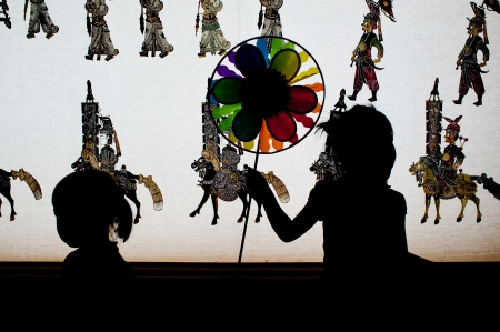 international puppet festival: Chinese art of shadow play, silhouette Stock Photo