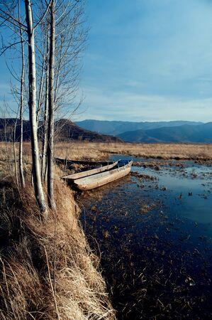 China Yunnan Lugu Lake scenery in winter photo