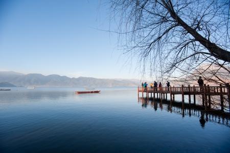 중국 운남 아침 Lugu 호수