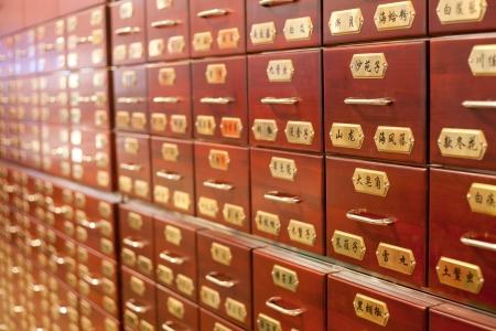 medicina tradicional china: Hierbas medicinales chinas, envase Foto de archivo