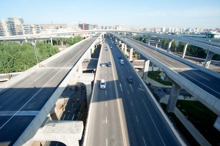 Panoramic city overpass Stock Photo