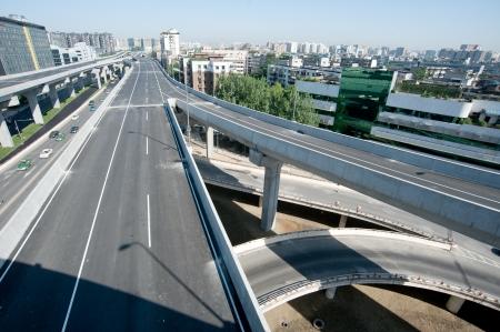 Panoramic city overpass photo