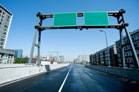 viaducts: Highway, road signs Stock Photo