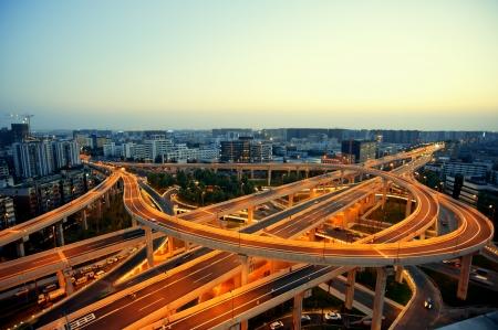 overpass: Chengdu, China, city overpass at night