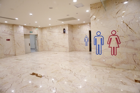 labeled: Labeled toilets Stock Photo