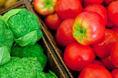 Fresh vegetables on the shelves, photo