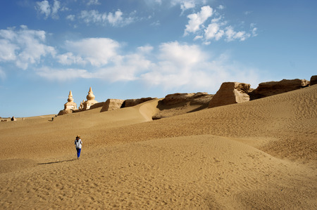 China yinchuan descending sand lakes scenery