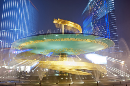 flyovers: China city center square night