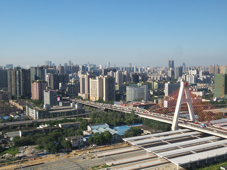 inter: Aerial view of Tianfu, Chengdu Editorial