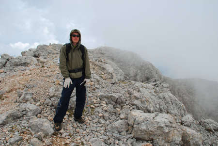 eminence: This is tourist on mountain northern caucasia Stock Photo