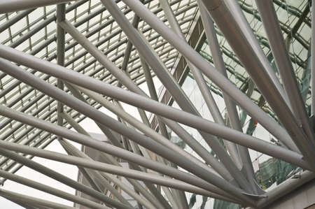futuristic business center metal roof construction close-up