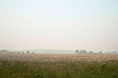 on this landscape before the village and arable field in the fog photo