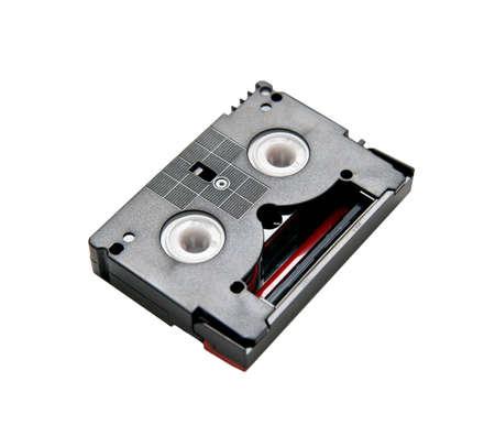 This mini DV cassette on white background photo
