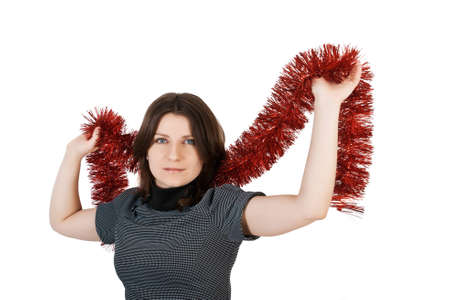 young woman with a tinsel photo