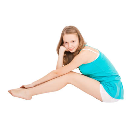 Teen girl isoalated on white background