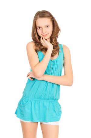 Teen girl isoalated on white background Stock Photo - 10199346