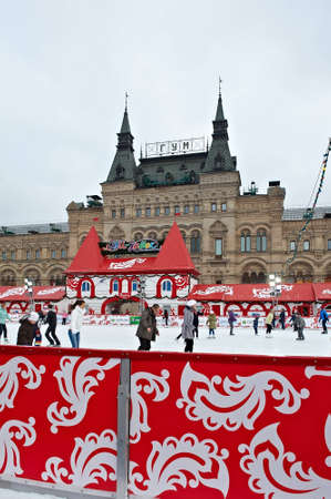 winter blues: MOSCOW, RUSSIA-DECEMBER 11: Skaters Beating the Winter Blues at the Annual Christmas Ice Rink at the Red Square on Desember 11, 2011 in Moscow.