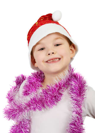Adorable boy in Santa Hat isolated on white background