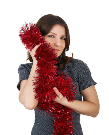 beautiful girl with red tinsel in their hands on a white background