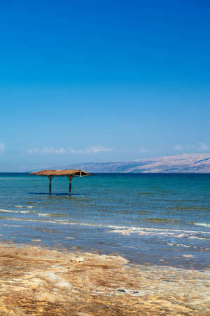 Mineral salts on coast of the Dead Sea, photo