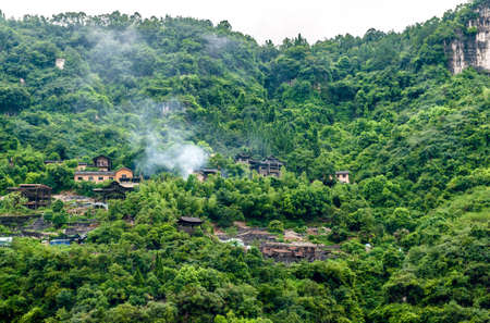 Chinese village in the mountains near the Yangtze River Stock Photo