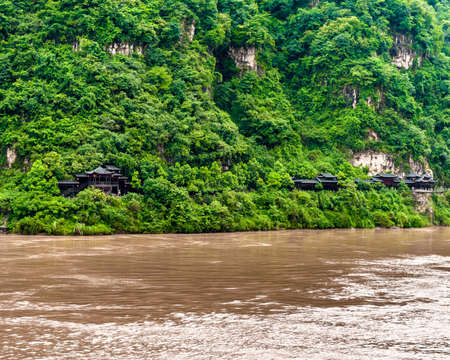 yangtze river: Traditional Chinese house on the banks of the Yangtze River Stock Photo