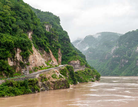 yangtze river: Traveling by ship between the mountains on the Yangtze River