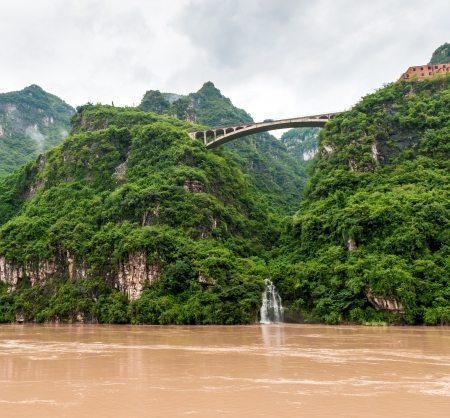 Travel by boat on the Yangtze River with a view of the falls photo
