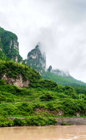yangtze river: beautiful views of the mountains on the Yangtze River in China