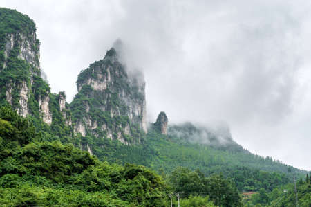 beautiful views of the mountains on the Yangtze River in China photo